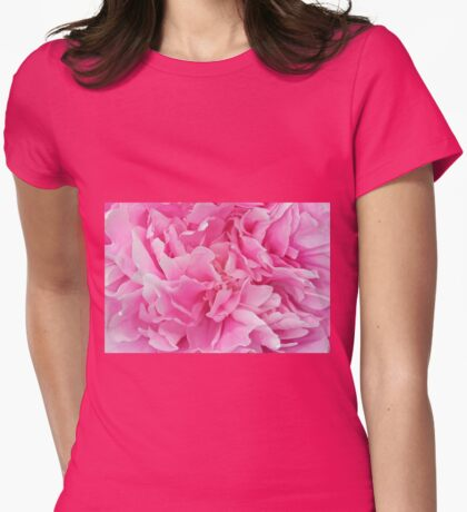 Pink Peony macro Womens Fitted T-Shirt