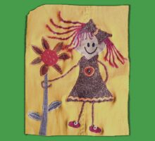 Stick Girl Doll Flower Fabric Art  Kids Clothes