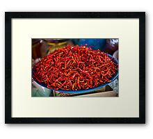 Spicy red hot chilies Framed Print