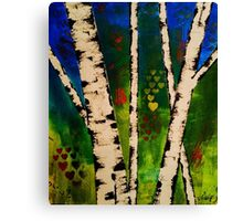 Green Birch Trees painting Canvas Print