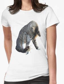White Pawed Tabby Cat Playing With Winged Insect T-Shirt