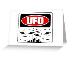 UFO, FUNNY DANGER STYLE FAKE SAFETY SIGN Greeting Card