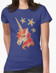 Unicorn Flower Denim Fabric Art  T-Shirt