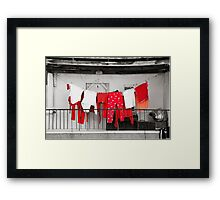 Red laundry Framed Print