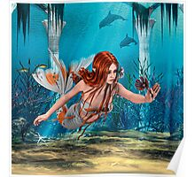 Mermaid holding Sea Lily Poster