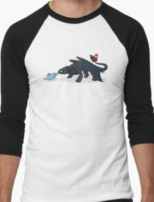 Toothless & Totodile Men's Baseball ¾ T-Shirt