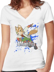 I Main Fox - Super Smash Bros. Women's Fitted V-Neck T-Shirt