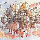 The flying village! by Luca Massone  disegni