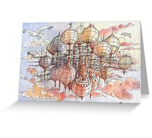 The flying village! Greeting Card