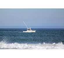 White Boat In The Middle Photographic Print
