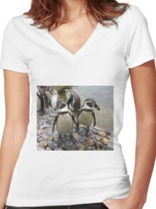 Humboldt Penguin Gang Women's Fitted V-Neck T-Shirt