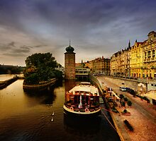 Masarykovo nabrezi and the Vltava river, Prague by Stevacek