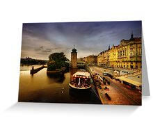 Masarykovo nabrezi and the Vltava river, Prague Greeting Card
