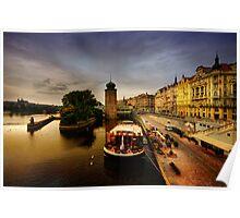 Masarykovo nabrezi and the Vltava river, Prague Poster