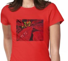 Big Red Poinsettia Womens Fitted T-Shirt