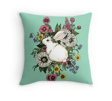 Rabbit in Flowers Throw Pillow