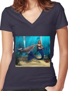 Mermaid and Dolphin Women's Fitted V-Neck T-Shirt