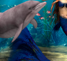 Mermaid and Dolphin Sticker