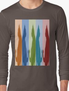 Reflected Images Of A Line Of Cats Long Sleeve T-Shirt