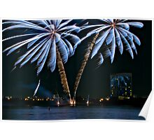 Fireworks Palm Trees Poster