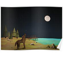 Geometric Night Wolf Poster