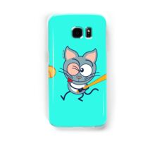 Cool cat playing baseball Samsung Galaxy Case/Skin