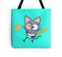 Cool cat playing baseball Tote Bag