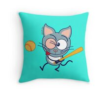 Cool cat playing baseball Throw Pillow