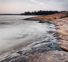 Red rocks on shore of Georgian Bay at dawn art photo print by ArtNudePhotos