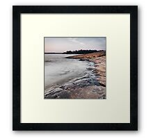 Red rocks on shore of Georgian Bay at dawn art photo print Framed Print