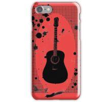 Ink-Spattered Black Acoustic Guitar iPhone Case/Skin