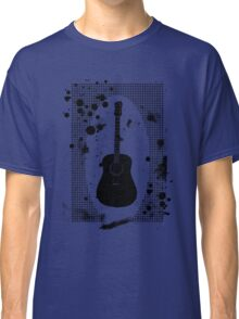 Ink-Spattered Black Acoustic Guitar Classic T-Shirt