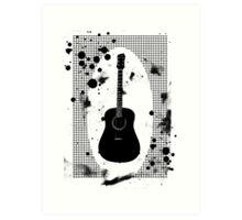 Ink-Spattered Black Acoustic Guitar Art Print