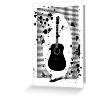 Ink-Spattered Black Acoustic Guitar Greeting Card