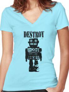 Destroy 01 Women's Fitted V-Neck T-Shirt