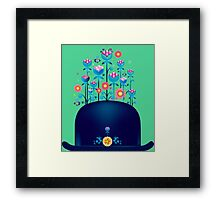 Creative hat with blue flowers Framed Print
