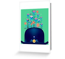 Creative hat with blue flowers Greeting Card