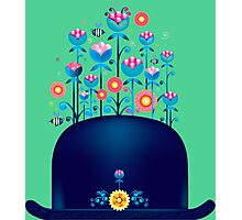 Creative hat with blue flowers Photographic Print