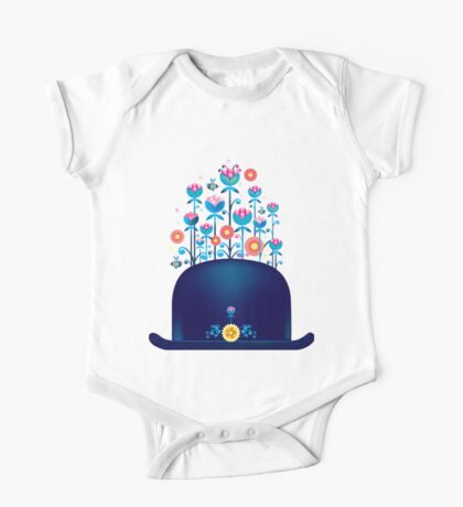 Creative hat with blue flowers One Piece - Short Sleeve