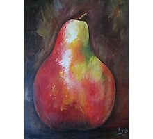 Red pear, Acrylic painting Photographic Print