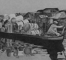 Riverbanks (charcoal on paper) by sandy karman