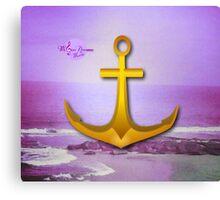 Purple Ocean & Sky Anchor Canvas Print