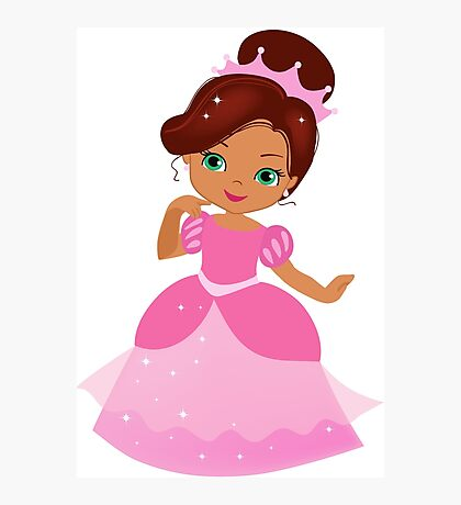 African American Beautiful Princess in a pink dress Photographic Print
