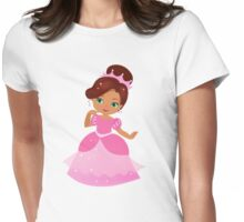 African American Beautiful Princess in a pink dress Womens Fitted T-Shirt