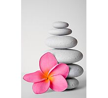 Zen Pebbles and Frangipani Flower Photographic Print