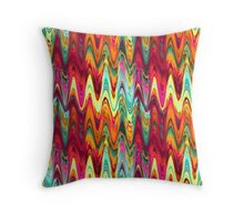Bright colors wavy Aztec psychedelic zigzag pattern Throw Pillow