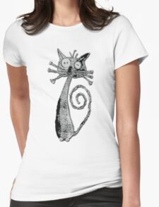 Quirky Cat  Fabric Art - Sketch Effect  T-Shirt
