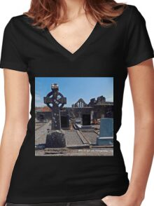 Ireland - Celtic Cross and Church Women's Fitted V-Neck T-Shirt