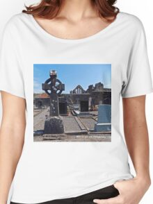Ireland - Celtic Cross and Church Women's Relaxed Fit T-Shirt