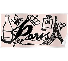French icons Paris France doodle collage Poster